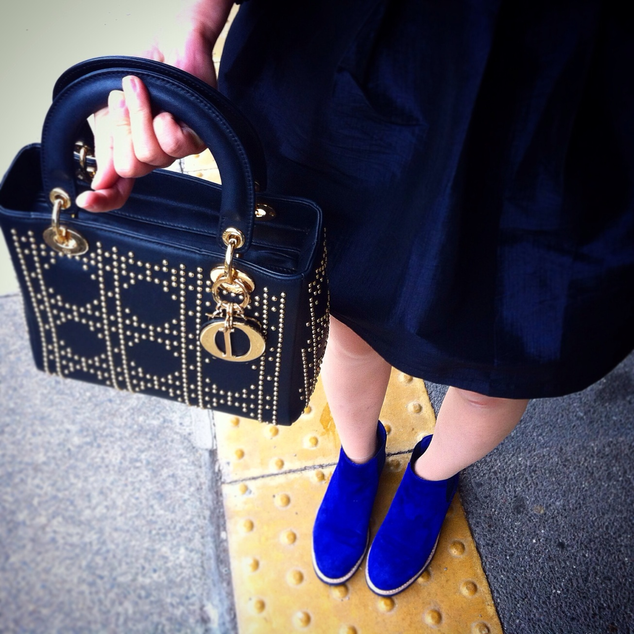 Studded Dior and blue suede boots by Accessorize All Areas