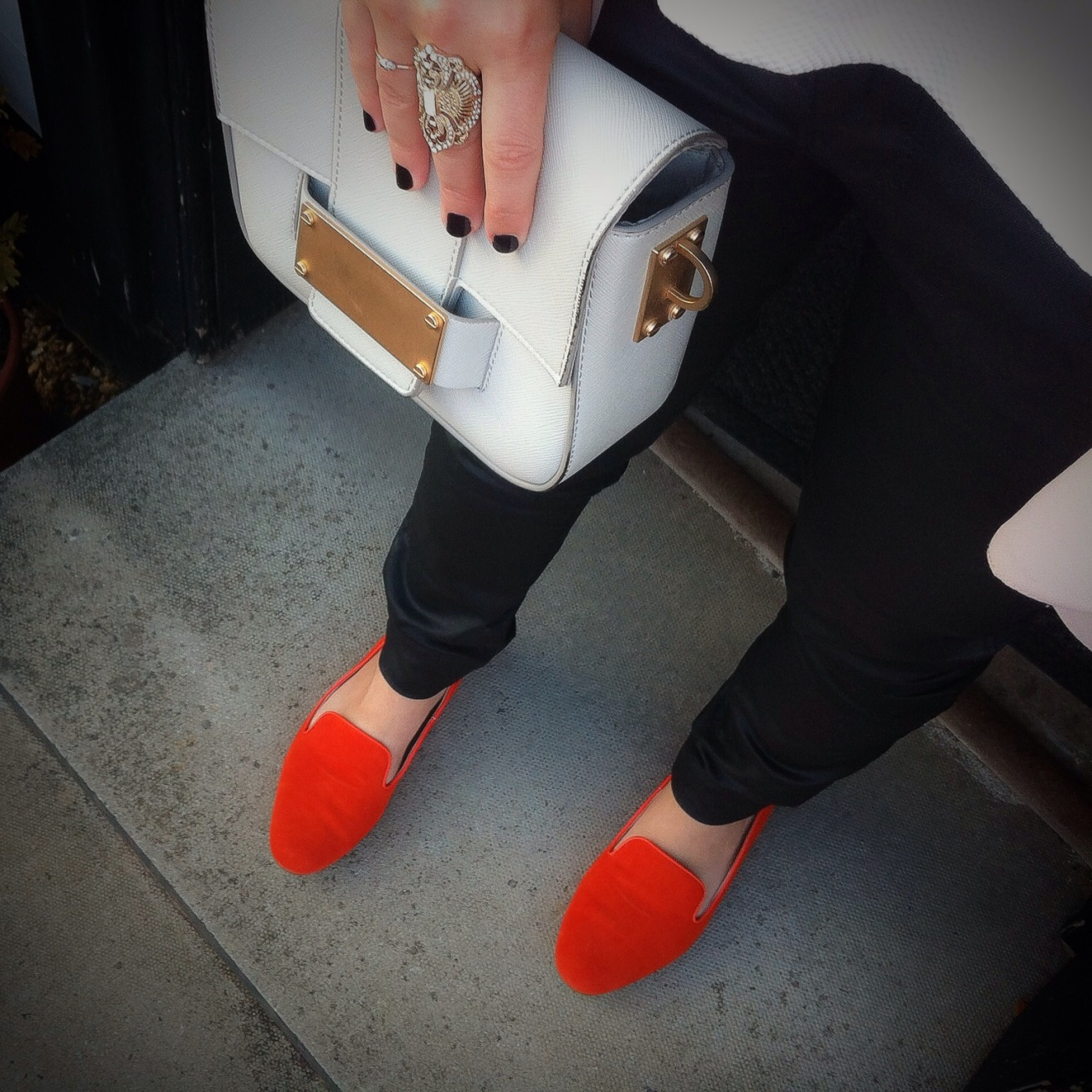 Orange suede shoes and statement rings OOTD