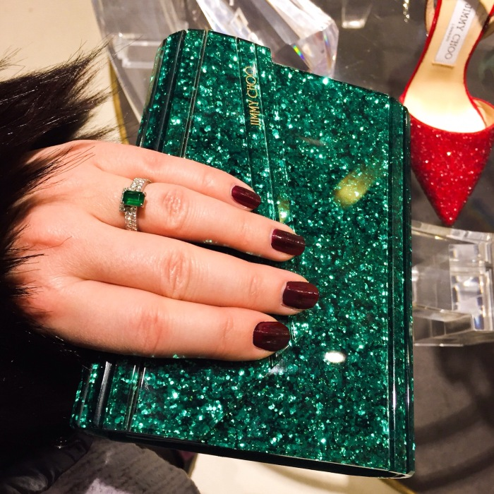 Jimmy Choo Emerald Candy clutch by Accessorize All Areas