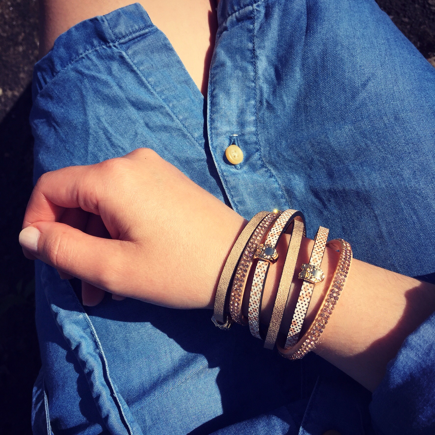Rose Gold and leather bracelet by Accessorize All Areas