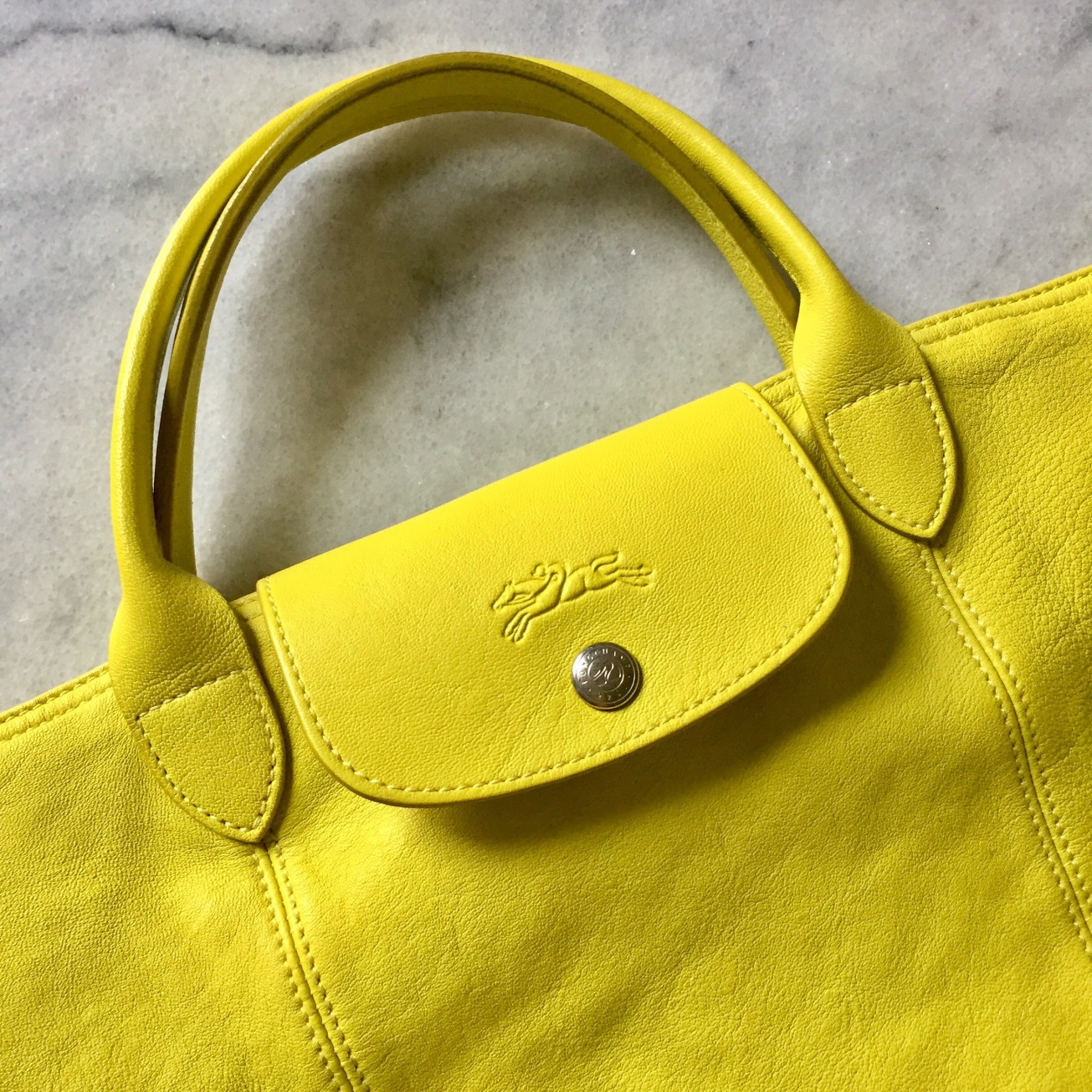 Yellow Longchamp Le Pliage cuir by Accessorize All Areas